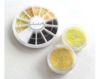 SALE 3D Yellow Black Deco Kit for Nail Art or Scrapbooking bee bumble glitter jar wheel decora (sole shop owner est 2010 USA)