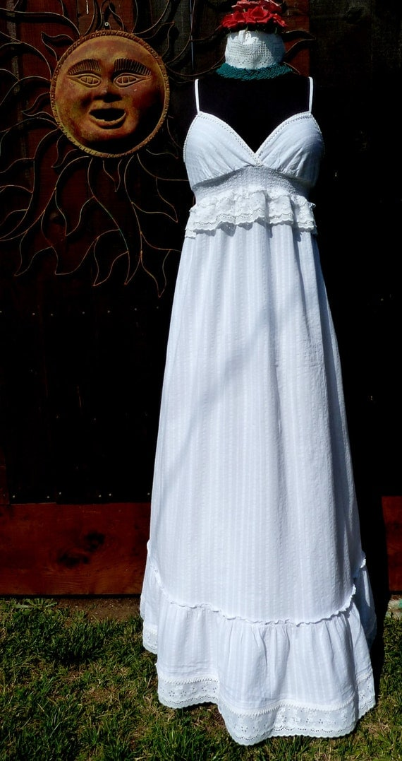 Summer cotton wedding dress upcycled maxi dress by mexisoul for Simple cotton wedding dress