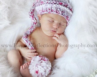 Newborn Knitted Chunky Elf Hat with Pom in Pink Candy, More Color Choices Available, Photo Prop