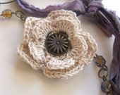 Cottage Blooms Bracelet Collection - Cream/ecru crochet flower and purple glass beads bracelet with silk sari ribbon