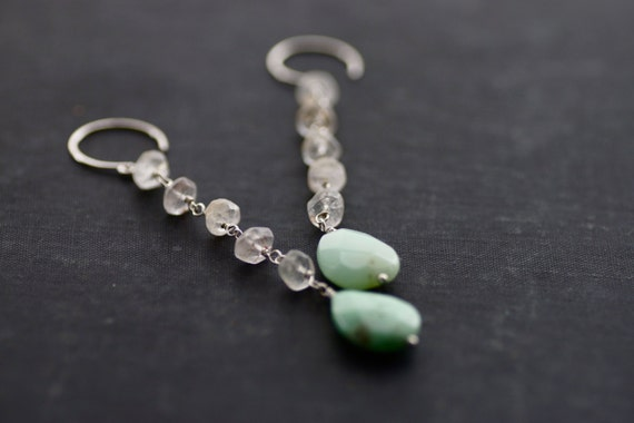 Long Quartz and Chrysoprase Sterling Silver Wire Wrapped Earrings