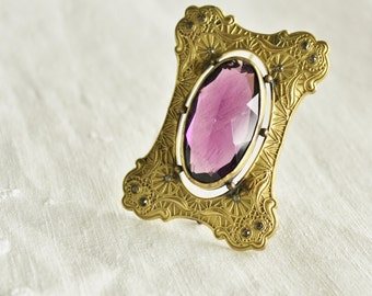 Antique Art Nouveau Paye and Baker Amethyst Sash Brooch