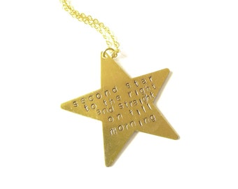 Peter Pan Necklace Neverland Jewelry Second Star to the Right Quote Wendy Darling Charm Accessories Book Lover Unique Womens Gift For Her
