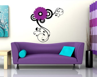 Vinyl Wall Decal Sticker Daisy Swirl 1117m