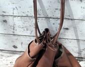 Vintage OMBU Genuine Brown Pebbled Leather Drawstring Purse Handbag Shoulderbag Satchel XL