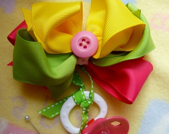 Baby Shower Corsage..Mom to Be Corsage..Boutique Hair Bow with Pacifier..Girly Girl..Stacked Hair Bow..Hair Bow Corsage for Mommy  :)