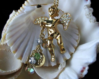 Kirks Folly Cupid Necklace Aurora Borealis Dangles Moon Stars