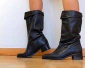 Vintage Black Leather Knee High Slouchy Pirate Boots with Heel Size 6/7