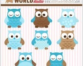 Cute Baby Blue Owl Clipart - INSTANT DOWNLOAD - Digital Clip Art - WA004C5a