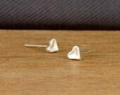 SPRING SALE: Tiny heart stud earrings, sterling silver heart post earrings, small heart, tiny love earrings, braidsmaid gift