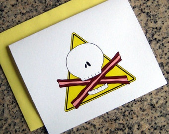 skull and baconbones bacon lovers beware notecards / thank you notes (blank or custom inside) with yellow envelopes - set of 10