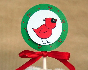 winter cardinal in a holiday wreath cupcake cake toppers decorations can be personalized - set of 12