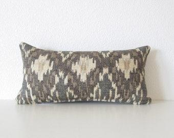 Decorative pillow cover - Mini Lumbar Pillow -  8x16 - Ikat Pillow - Brown - Cream - Light Blue - Lumbar Pillow