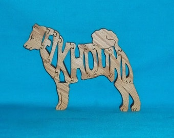 Elkhound Dog Scroll Saw Wooden Puzzle