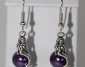 Mermaid and Purple Pearl Dangle Earrings