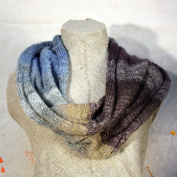Loch Lomond - versatile convertible wrap infinity scarf snood - as seen from the train on a foggy evening