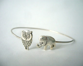 silver elephant and owl bracelet, animal bracelet, charm bracelet, bangle