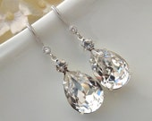 Rhinestone Bridal Earrings,Swarovski Crystal,Statement Bridal Earrings,Teardrop Earrings, Wedding Jewelry, Wedding Crystal Earrings,ARIA