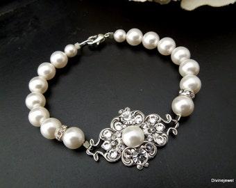 bridal pearl and crystal Bracelet, pearl bracelet, Statement Bridal Bracelet, Wedding Rhinestone Bracelet, swarovski bracelet, pearl, CLAUDE
