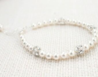 Pearl wedding bracelet, bridal bracelet, Swarovski crystal rhinestones - 'Eternity'