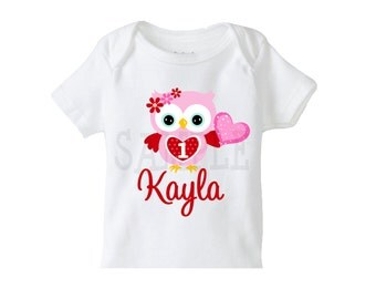 1st Valentines Day TShirt or Bodysuit , Owl Valentines Day Tshirt or Bodysuit Boys or Girls