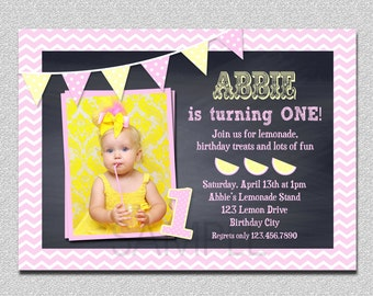 Lemonade Birthday Invitation , Pink Lemonade Chalkboard, Lemonade Birthday , Pink Lemonade Invitation, Chevron Birthday Party Invitation