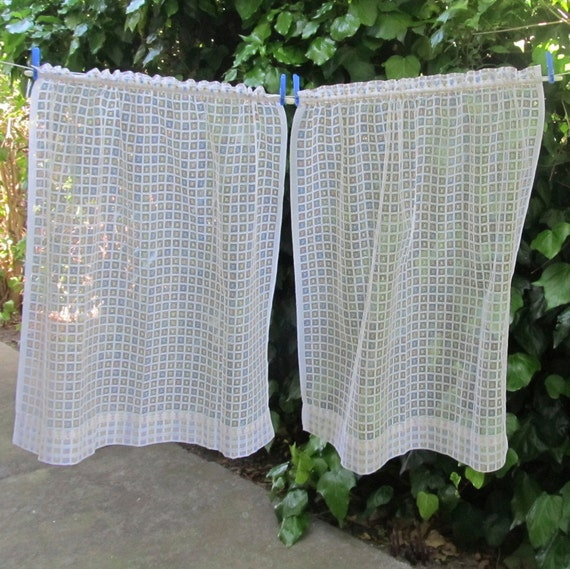 French Vintage Kitchen Curtains Sheer Curtains Small Squares