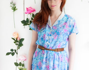 Bethany, French Vintage, 1970s Blue Floral Mini Dress from Paris