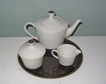 Vintage Fris Edam Mid Century Modern Tea Pot Set Holland Pottery Brown White Mad Men