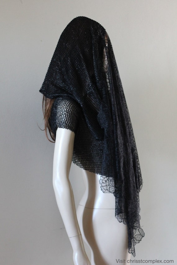 Last One Black Veil Headpiece Gothic Medieval Hood Chrisst