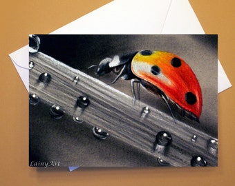 Art Greeting Card  - Created from Original ACEO drawing for Charity - Blank Notecard - 4x6 - Lady bug water drops - Day 331