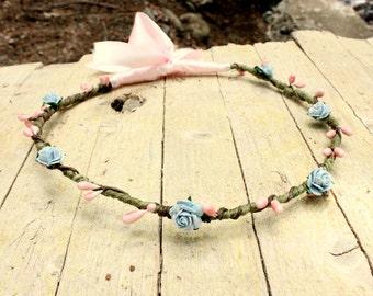 COTTON CANDY - Flower Headpiece - Pink and Light Blue Wreath - Woodland faerie head wreath - Halo retro feel, Bridesmaids Flower girl crowns