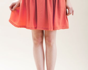 Mini skirt, Womens skirt, High waist skirt, A line skirt, Classic skirt, Coral skirt, orange skirt, Day skirt, Casual skirt, Valentines day