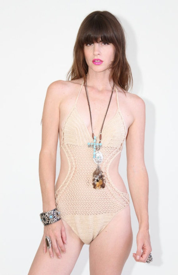 Vintage 70s Crochet one piece