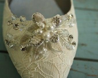 Wedding Shoe - Lace - Flats - Lace Wedding Shoe - Crystal Pearl - Downton Abbey - Handmade Wedding - Wedding Accessory - Ivory Shoe Parisxox