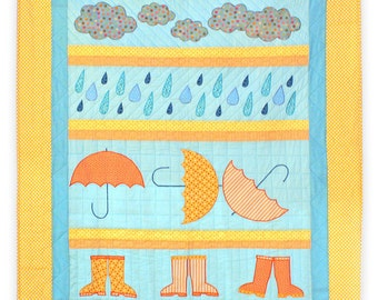 Rainy Day Single/Twin Quilt with umbrellas, gumboots, clouds and raindrops