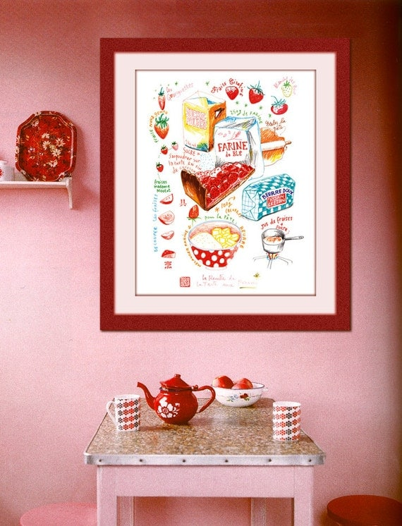 Http Www Etsy Com Listing 92131653 Food Illustration Strawberry Pie Recipe