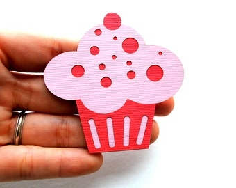 12 Cupcake die cut  (2.5 Inches) Pink and hot pink die cut A554