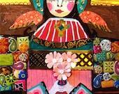 60% Off- Mexican Folk Art - Virgin Of Guadalupe Art Angel  Art Print Poster by Heather Galler (HG653)