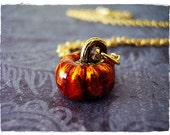 Orange Pumpkin Necklace - Orange Enameled Antique Gold Pewter Pumpkin Charm on a Delicate 18 Inch Gold Plated Cable Chain