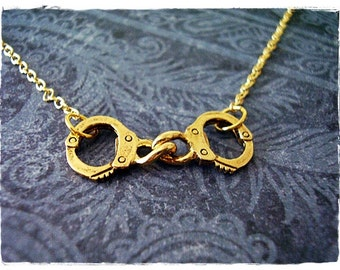 Tiny Gold Handcuffs Necklace - Antique Gold Pewter Handcuffs Charm on a Delicate Gold Plated Cable Chain or Charm Only