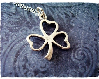 Silver Shamrock Necklace - Sterling Silver Shamrock Charm on a Delicate Sterling Silver Cable Chain or Charm Only