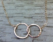 Two circles necklace. RINGS of LOVE.. Simply Love. 14k gold fill/Sterling or MIXED metal
