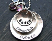 Mothers Personalized Necklace - Hand Stamped Mothers Necklace - Sterling Silver Mothers Layered with Stones