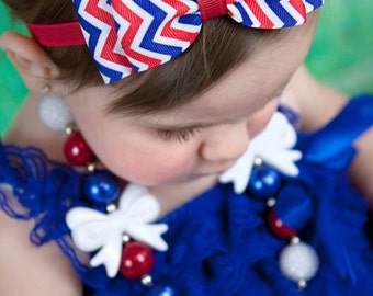 Red White & Blue Chevron Hair Bow Headband - Fourth of July Baby Headband - Baby Girls Hair Accessories - baby girl headbands and bows