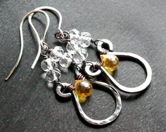 Bright yellow Cubic Zirconia earrings, wire wrapped dangle earrings, gemstone, drop earrings, Czech glass, Mimi Michele Jewelry