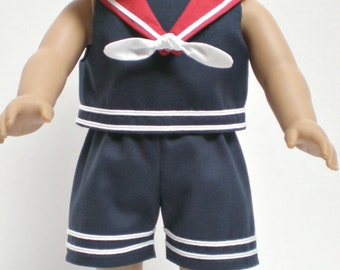 NAVY & WHITE SHORTS Sailor Suit 18 inch doll clothes