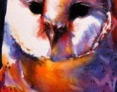 watercolor owl painting woodland creature wildlife bird art original painting 5 x 7 bright colors