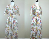80s Floral Dress / 1980s Spring Flowers Day Dress / Shirt Dress / Floral Shirtdress / Kwai M