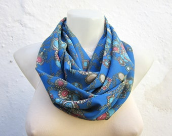 Print Scarf, infinity Scarf, Loop Scarf, Circle, Neckwarmer, Chiffon Scarves, Fabric Tube Accessories, Women Fashion, Blue, Pink, Yellow